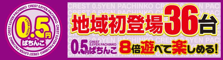 地域初登場0.5円パチ36台